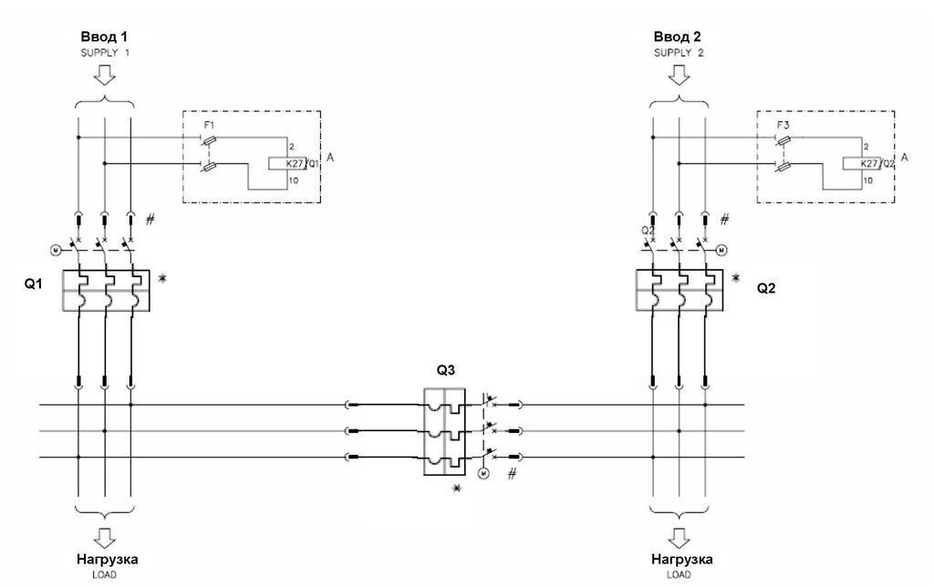 Схема АВР на 3 автоматах