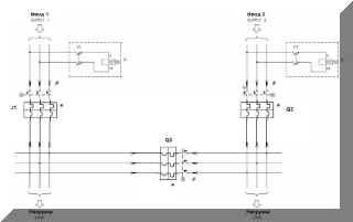 Схема АВР на 3 автоматах принципиальная, силовая часть с реле контроля напряжения.